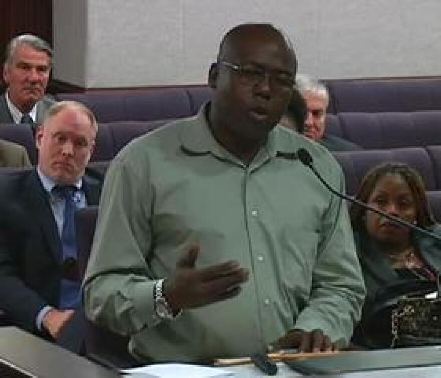 """Herman Lindsey, formerly on death row, was exonerated in 2009. He spoke Tuesday to members of the Senate Criminal Justice Committee about the """"Clean Hands"""" provision in the Victims of Wrongful Incarceration Compensation Act."""