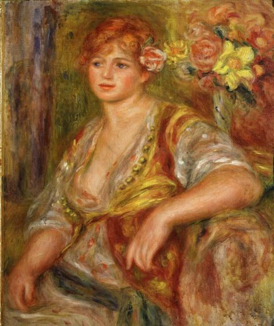 While art critics sometimes call Renoir's late period overly emotional, works like <em>Blonde a la rose</em>, shown here, were an inspiration to film director Gilles Bourdos. Andree Heuschling, a main character in the film, is credited as the model for this painting.