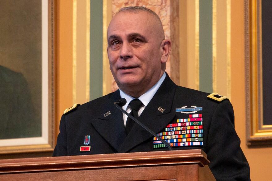 Maj. Gen. Benjamin Corell addresses lawmakers in the Iowa House Chamber.