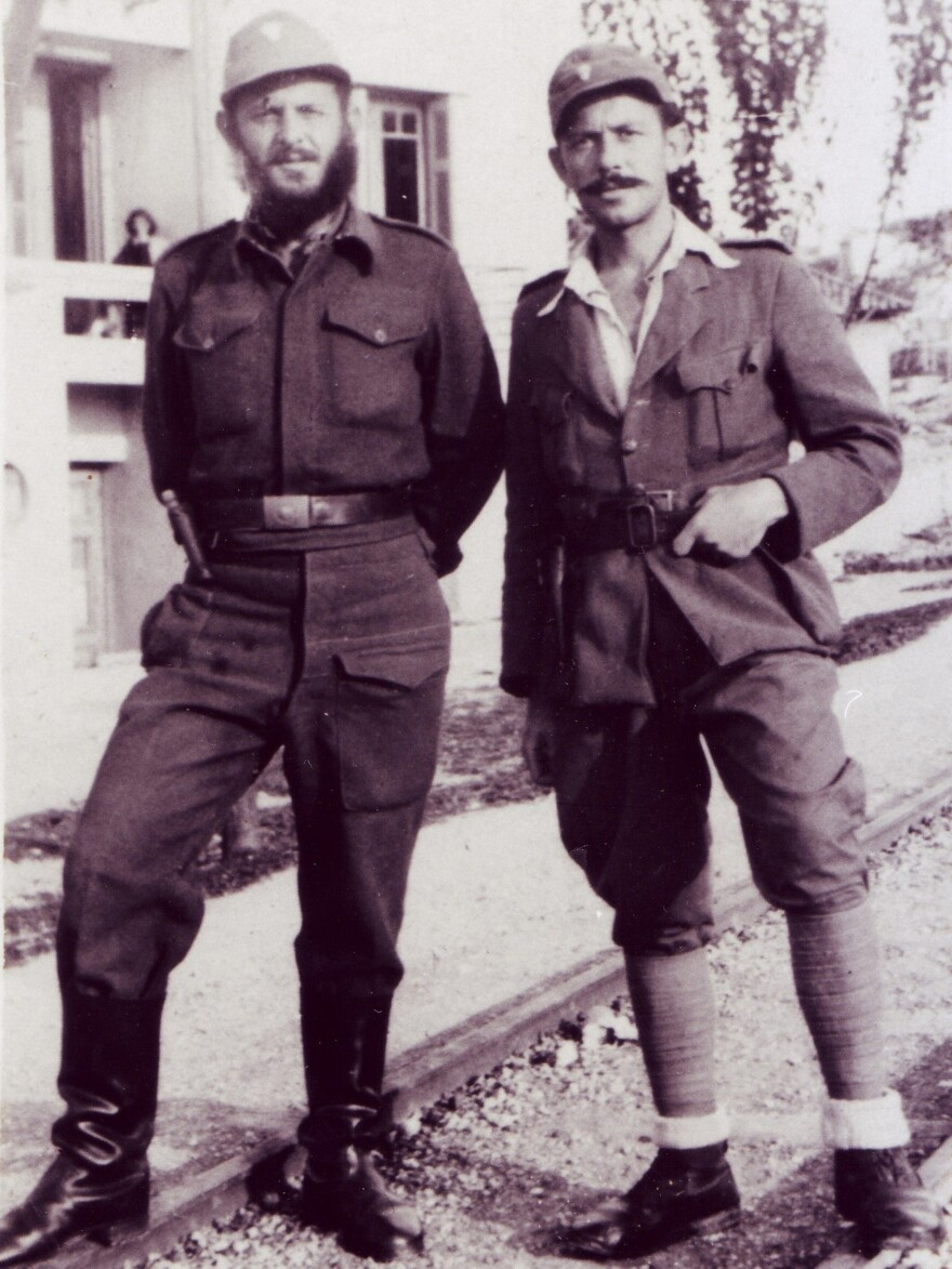 """Yussuroum (right) with a fellow Greek soldier fighting the Nazis during World War II. He used the Christian name """"Yiorgos Gazis"""" in case the Nazis captured him."""