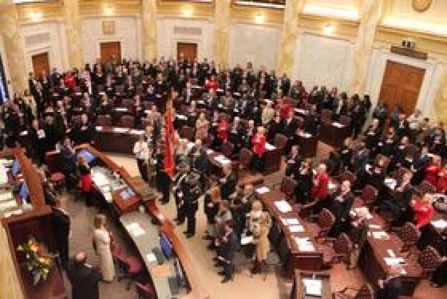 The 91st session of the Arkansas General Assembly pledges allegiance to the United States of America.