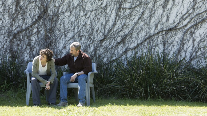 Steve Carell (right) and Timothée Chalamet star as father and son in <em>Beautiful Boy</em>.