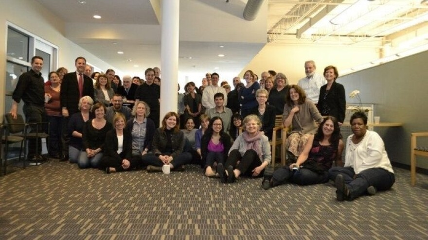 <em>Fresh Air</em>'s staff, surrounded by employees of WHYY at their 25th-anniversary party.
