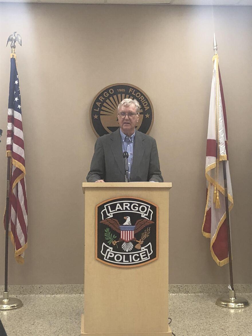 Jim Lewis speaks at Largo Police Department.
