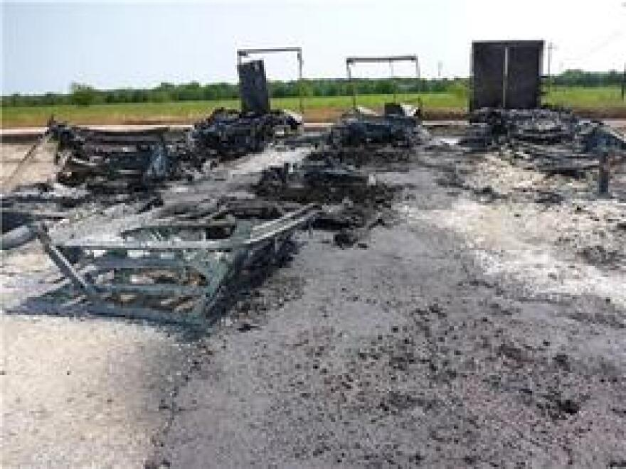 Burned-out trailers sit at the Arkema chemical plant in Crosby, Texas, after Harvey flooded the plant and caused organic peroxides stored in the trailers to catch fire.