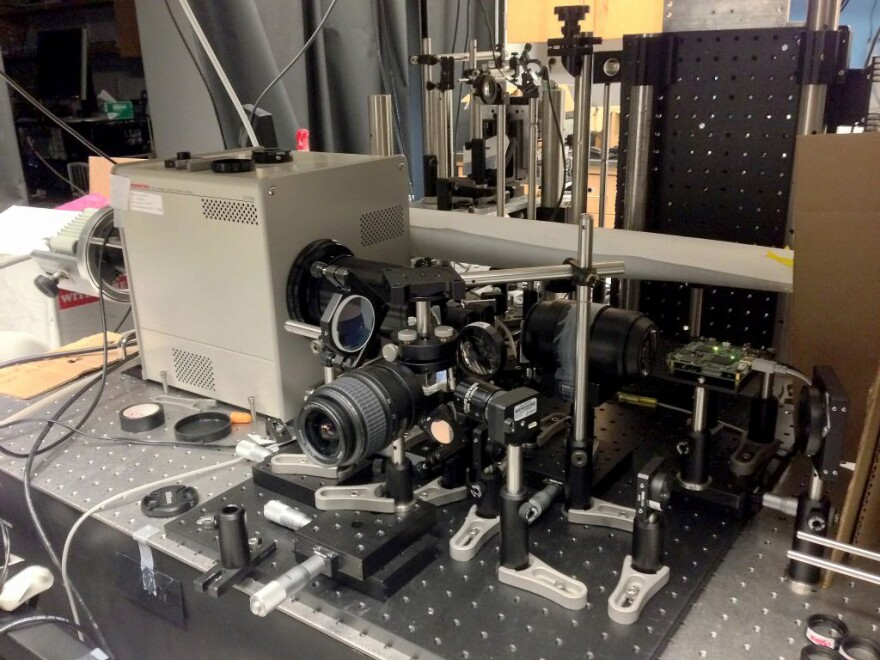 Here's a close-up of the new ultrafast imaging system, sitting on a table in Lihong Wang's lab at Washington University. The streak camera is inside the gray metal box, on the left.