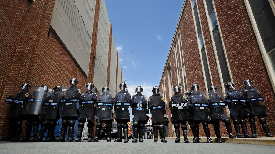 """Virginia State Police in Charlottesville, Va., on Sunday, the day after a """"Unite the Right"""" rally ended in violence and the death of a 32-year-old woman."""
