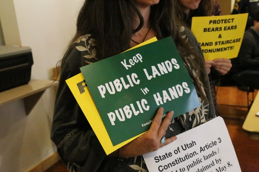 """Picture of a woman holding a sign that reads """"keep public lands in public hands"""""""
