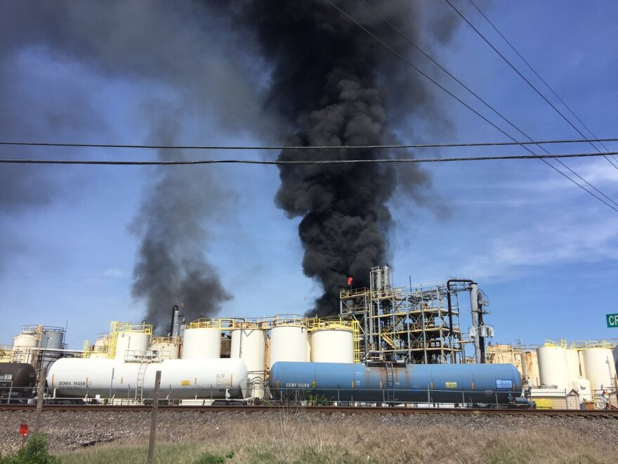 Smoke pouring from a chemical warehouse in Crosby, Texas Tuesday morning.