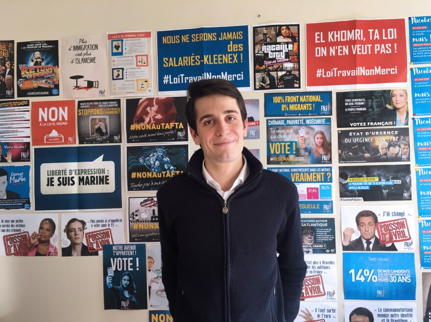 Gaëtan Dussausaye, 23, heads the 25,000 member strong youth faction of the National Front nationwide. He says candidate Marine Le Pen's personality plays a big role in the party's popularity among young people.