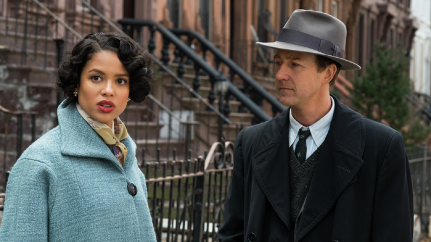 """Edward Norton (shown here with co-star Gugu Mbatha-Raw) describes his <em>Motherless Brooklyn</em> character as a sad and lonely """"street kid."""""""