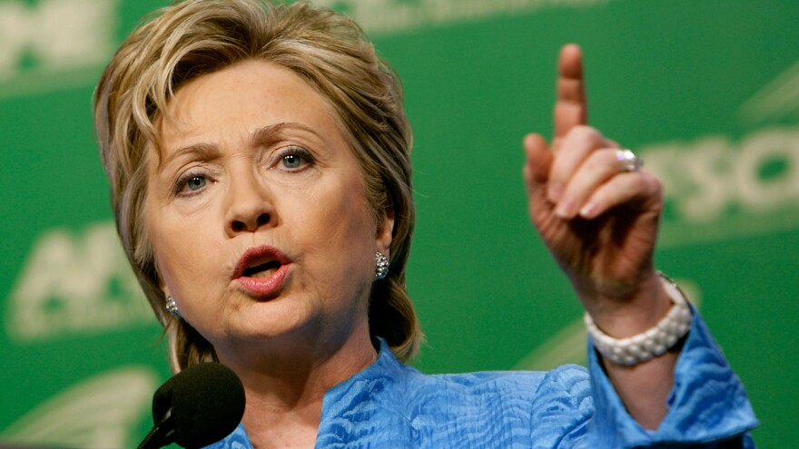 Hillary Clinton addresses the American Federation of State, County and Municipal Employees, or AFSCME, during its National Leadership Conference in 2007.