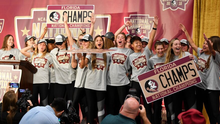 The FSU Women's Soccer Team onstage at the December celebration for their National Championship win.