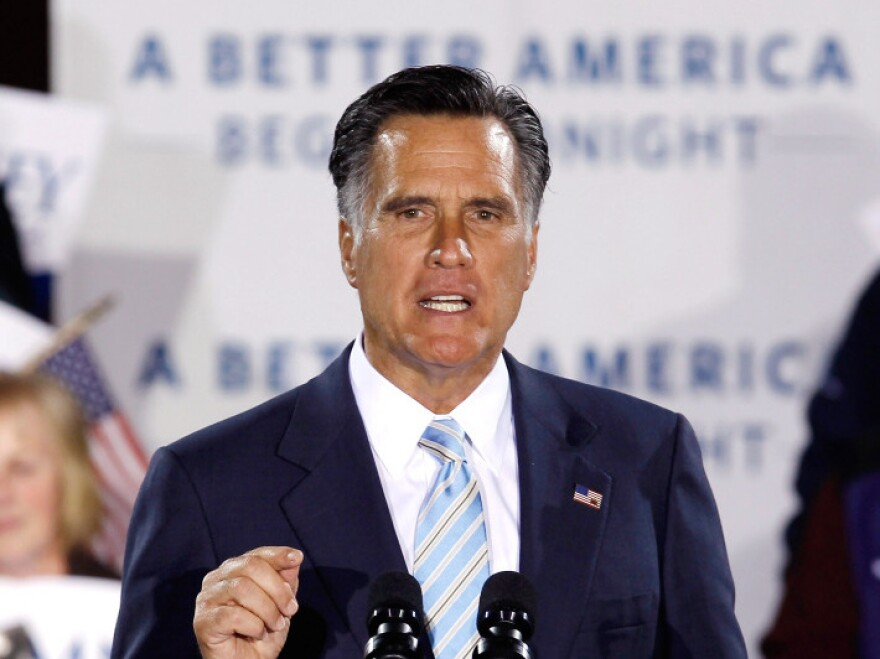 "Republican presidential candidate Mitt Romney addresses supporters during a campaign rally titled ""A Better America Begins Tonight"" at the Radisson Hotel April 24, 2012 in Manchester, New Hampshire."