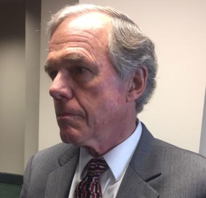 Gaston County DA Locke Bell speaks to reporters after closing arguments in Mark Carver hearing.