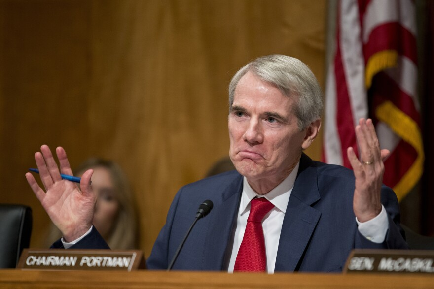 """Rob Portman in June 2016. Ohio's junior senator says Trump's emergency declaration makes him """"uncomfortable,"""" but he has also repeatedly said he is undecided on how he will vote on an upcoming Senate resolution rejecting Trump's declaration."""