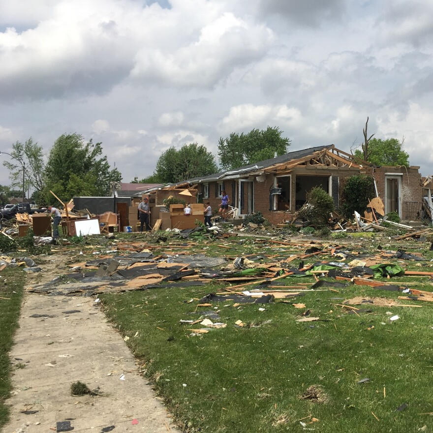 Debris is strewn for miles in Celina. The Tornado ripped through numerous streets and cul-de-sacs, and damage is still being accessed by the local government and the Red Cross.
