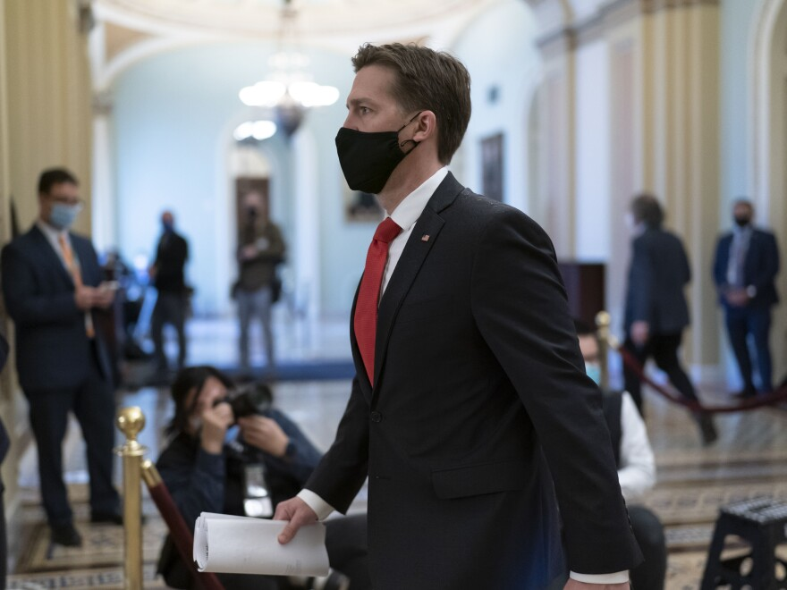 Sen. Ben Sasse, R-Neb., leaves the chamber as the Senate voted to consider hearing from witnesses in the impeachment trial of former President Donald Trump, at the Capitol last week.