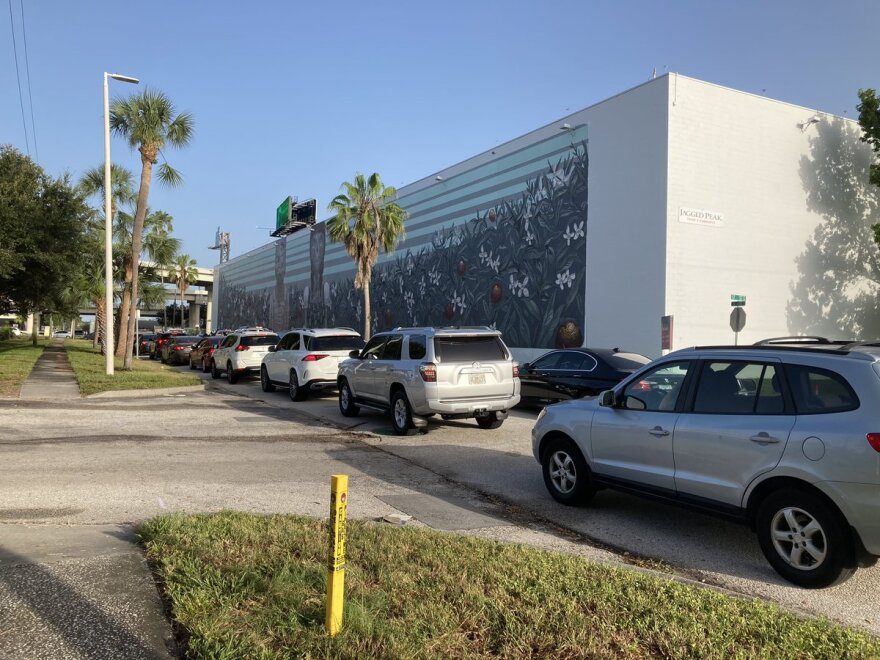 The new drive-thru testing site at Tropicana Field in St. Petersburg had to close for the day about an hour after opening because it ran out of supplies.