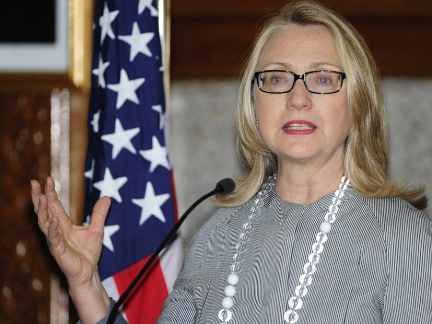 Secretary of State Hillary Rodham Clinton during a news conference in Dhaka, Bangladesh, on Saturday (March 5, 2012).