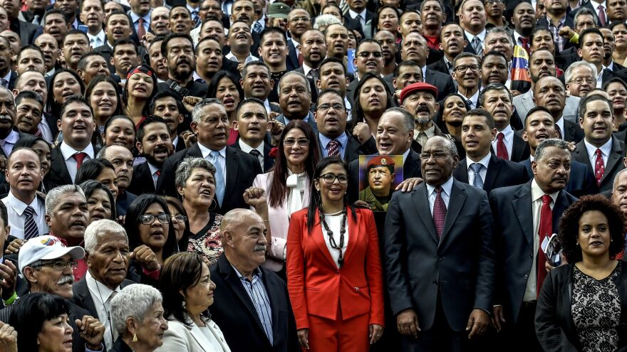 Members of the constituent assembly pose for the cameras during their inauguration last week in Caracas. The powerful group of delegates was called into existence by Venezuelan President Nicolas Maduro, who has tasked it with rewriting the country's constitution.