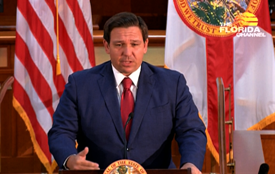 """Gov. Ron DeSantis says Florida may have """"vanquished the ghosts of Bush versus Gore."""" Video image: The Florida Channel"""