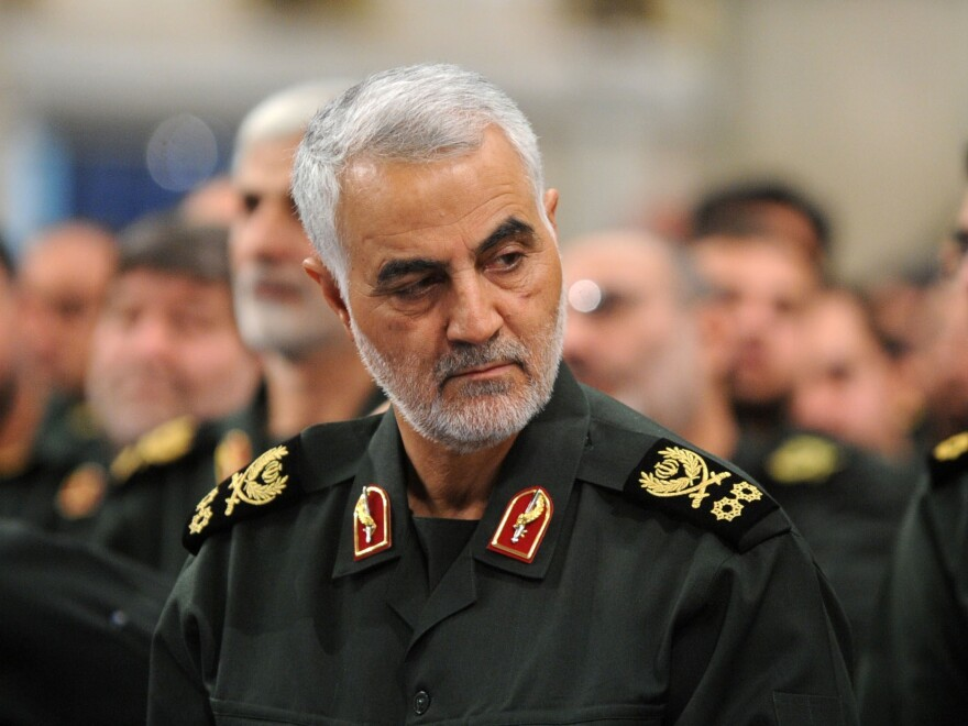 Iranian Quds Force commander Gen. Qassim Soleimani, seen in September, was killed Friday in a strike on the international airport in Baghdad.