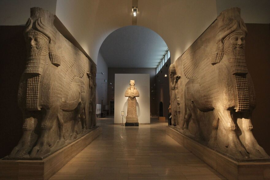 Assyrian artifacts are displayed at Iraq's National Museum in Baghdad in 2016. The $30 million sale of a 3,000-year-old Assyrian relief is sparking concern that similar artifacts will be looted.
