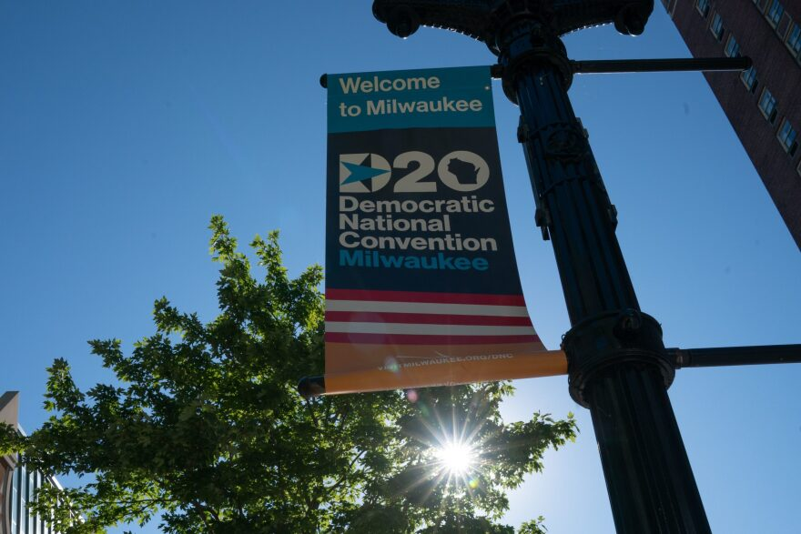 A sign advertises the convention at Wisconsin Center, home to the 2020 Democratic National Convention in Milwaukee on August 11, 2020. (Brian R. Smith/AFP via Getty Images)