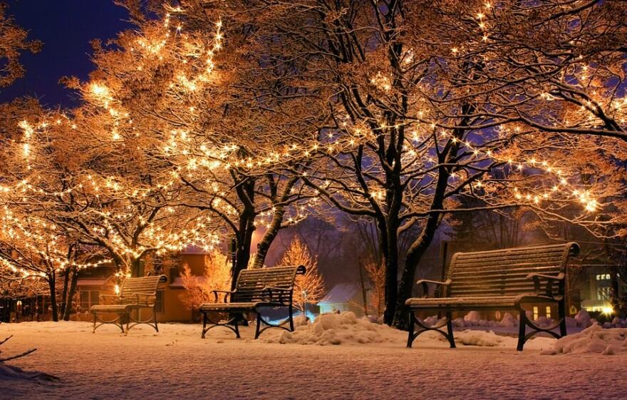Christmas Lights snow empty park benches.jpg