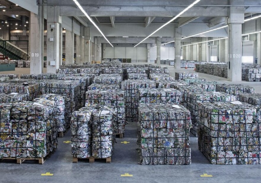 <p>Recycling material is stored in the new plant during the opening of the 200 million euro aluminum recycling and casting center of US company Novelis Inc., headquartered in Atlanta, US, in Nachterstedt, central Germany, Wednesday, Oct. 1, 2014.</p>