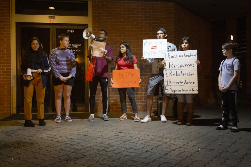 Members of the student-led group Integrate Austin speak out against segregation at an AISD school board meeting in November. The students called on the district to change boundary lines, so schools would be more racially and socioeconomically integrated.