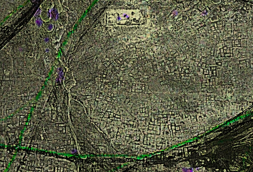 A satellite image of the archaeological site of Tanis, after processing. Sarah Parcak used satellite data to find the ancient Egyptian city.