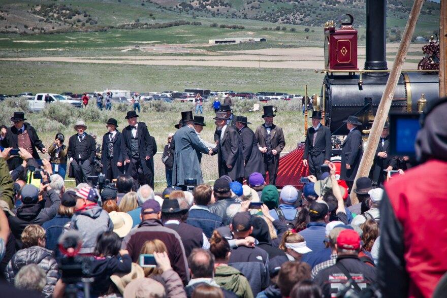 Actors reenact historical events at Promontory Summit, Utah.