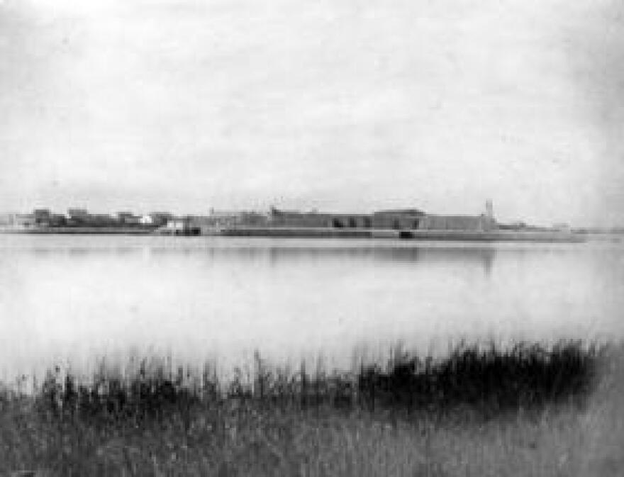 A view of the Castillo de San Marcos from across the Matanzas River, circa the early 1900s.