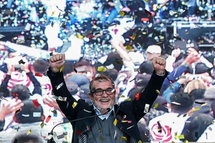 Rodrigo Londoño, a onetime FARC guerrilla commander known as Timochenko, launches his candidacy for president of Colombia in the Ciudad Bolívar neighborhood of Bogotá on Saturday.