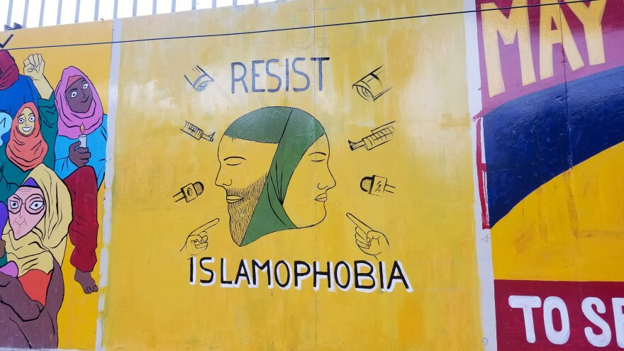 Murals on the outer walls of the campus of Jamia Millia Islamia in New Delhi, where students have been protesting a new citizenship law that excludes Muslim refugees.