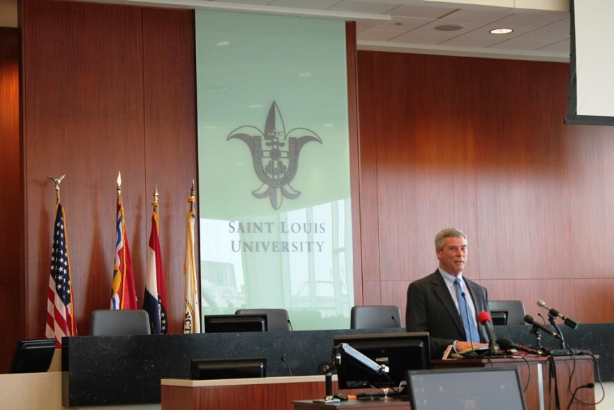 St. Louis County prosecutor Bob McCulloch delivers a keynote address at a Saint Louis University law school  symposium on policing after Ferguson on February 20, 2015.