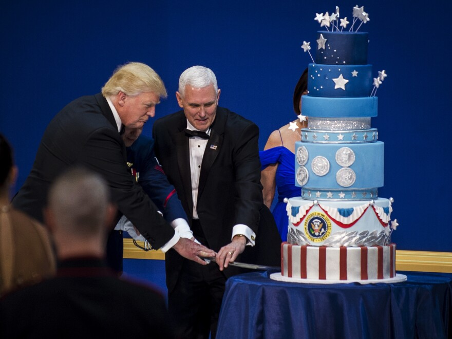 President Trump and Vice President Pence concluded the third ball of the evening by cutting a giant cake with a saber.