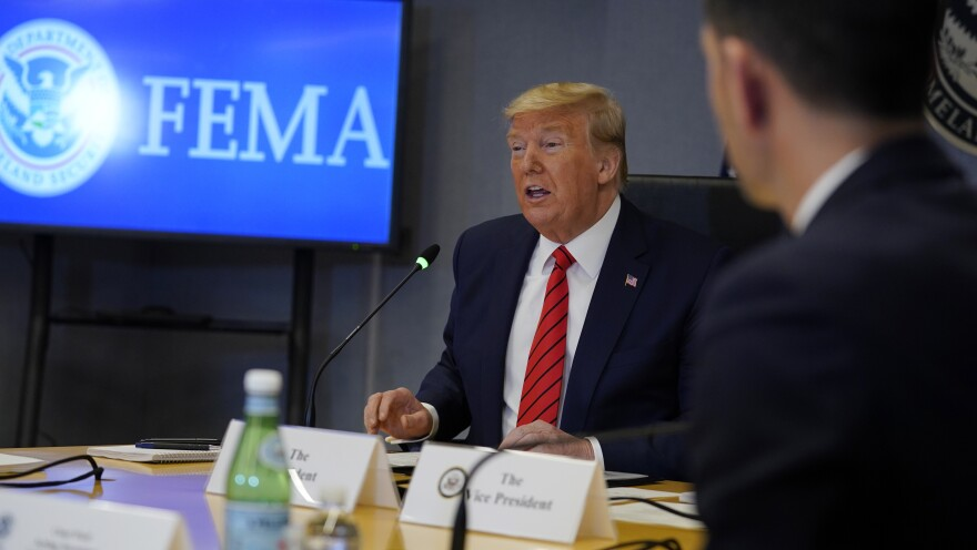 President Trump speaks during a teleconference with governors at the Federal Emergency Management Agency headquarters Thursday.