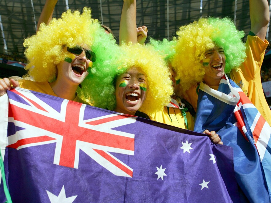 Australian national soccer team supporters at the 2006 World Cup in Munich.