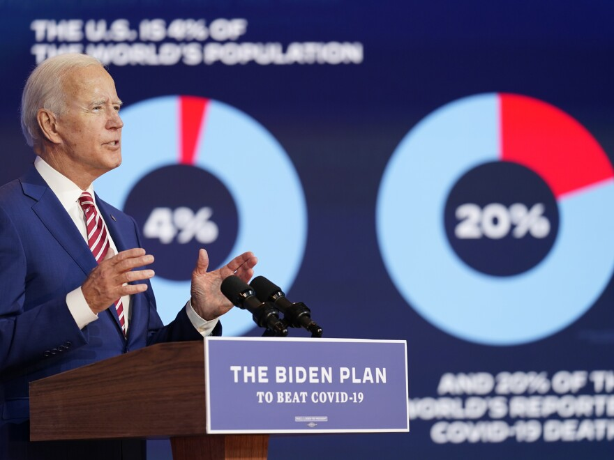 Former Vice President Joe Biden speaks about the coronavirus on Friday in Wilmington, Del.