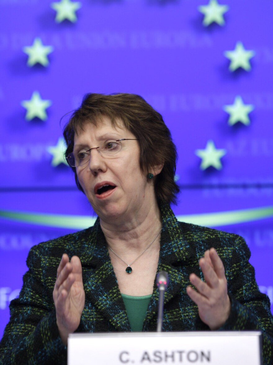 Catherine Ashton, the European Union foreign policy chief, speaks in Brussels on Monday following a meeting of EU foreign ministers. The EU has agreed to an embargo on buying oil from Iran in the latest sanction against that country for its nuclear program.