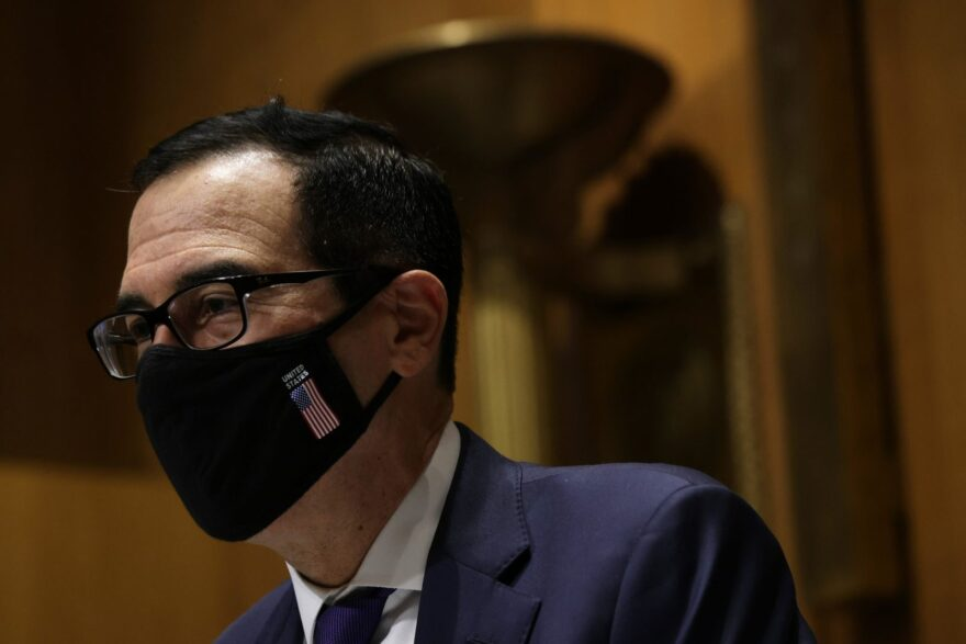 U.S. Secretary of the Treasury Steven Mnuchin arrives at a hearing before the Congressional Oversight Commission at Dirksen Senate Office Building on Capitol Hill in Washington, DC.