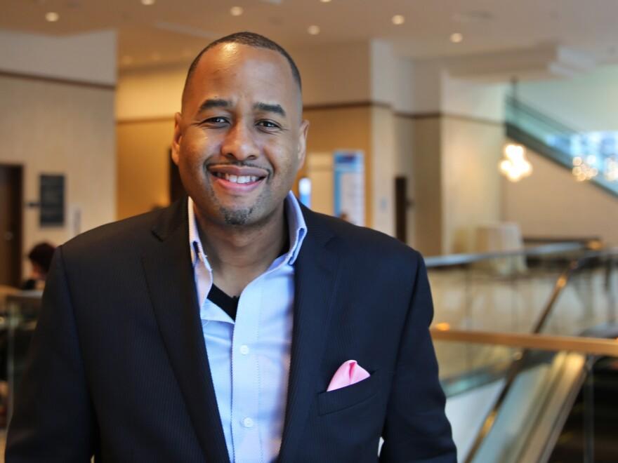 "RiShawn Biddle, editor of <a href=""../../blogs/ed/2015/03/13/392766551/dropoutnation.net"">Dropout Nation</a>, at SXSWedu."