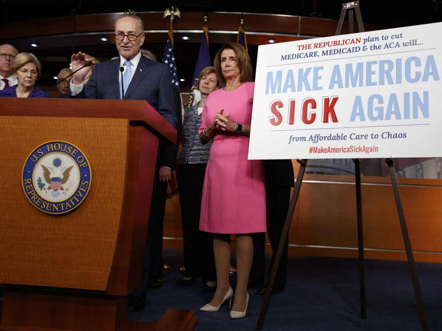 """Senate Minority Leader Chuck Schumer, joined by fellow congressional Democrats, brands what Republicans are trying to do when it comes to health care as """"Make America Sick Again."""""""
