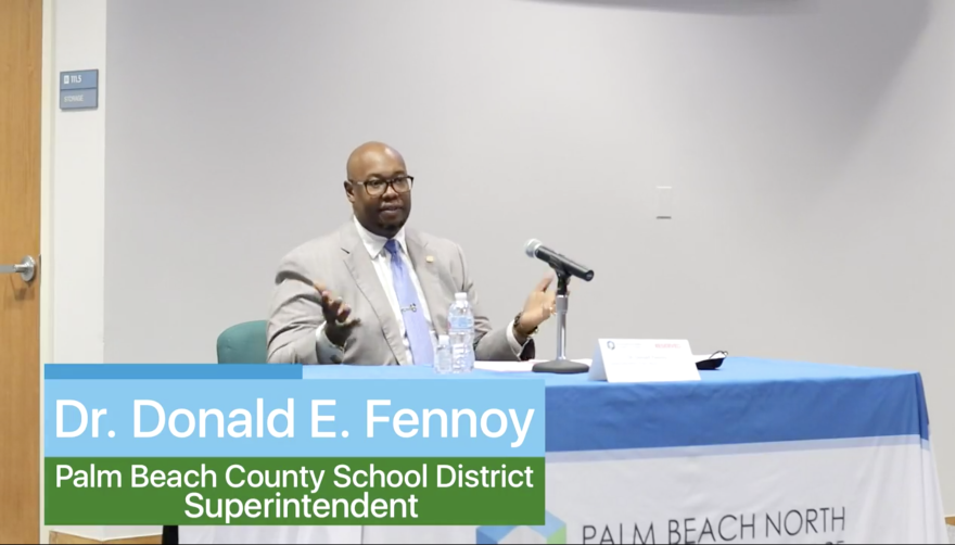 Dr. Donald Fennoy speaking at a forum hosted by the Palm Beach North Chamber of Commerce.