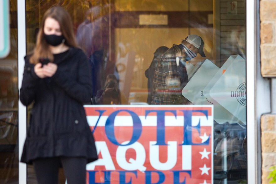 People vote in Travis County on Nov. 3, 2020.