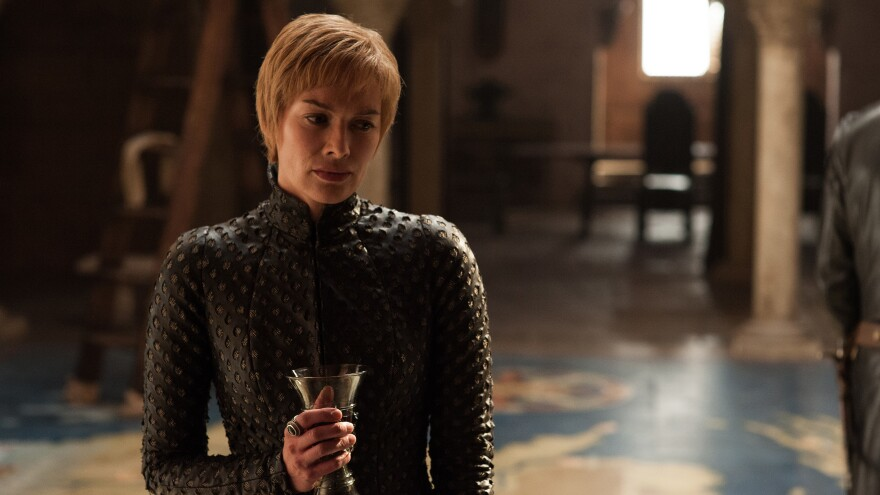 """<em>""""Pinot Noir!/Lann-is-star!/Have-I per-haps gone too-far?""""</em>: Queen Cersei (Lena Headey) takes a sip or twelve of wine in the premiere episode of <em>Game of Thrones'</em> seventh season."""