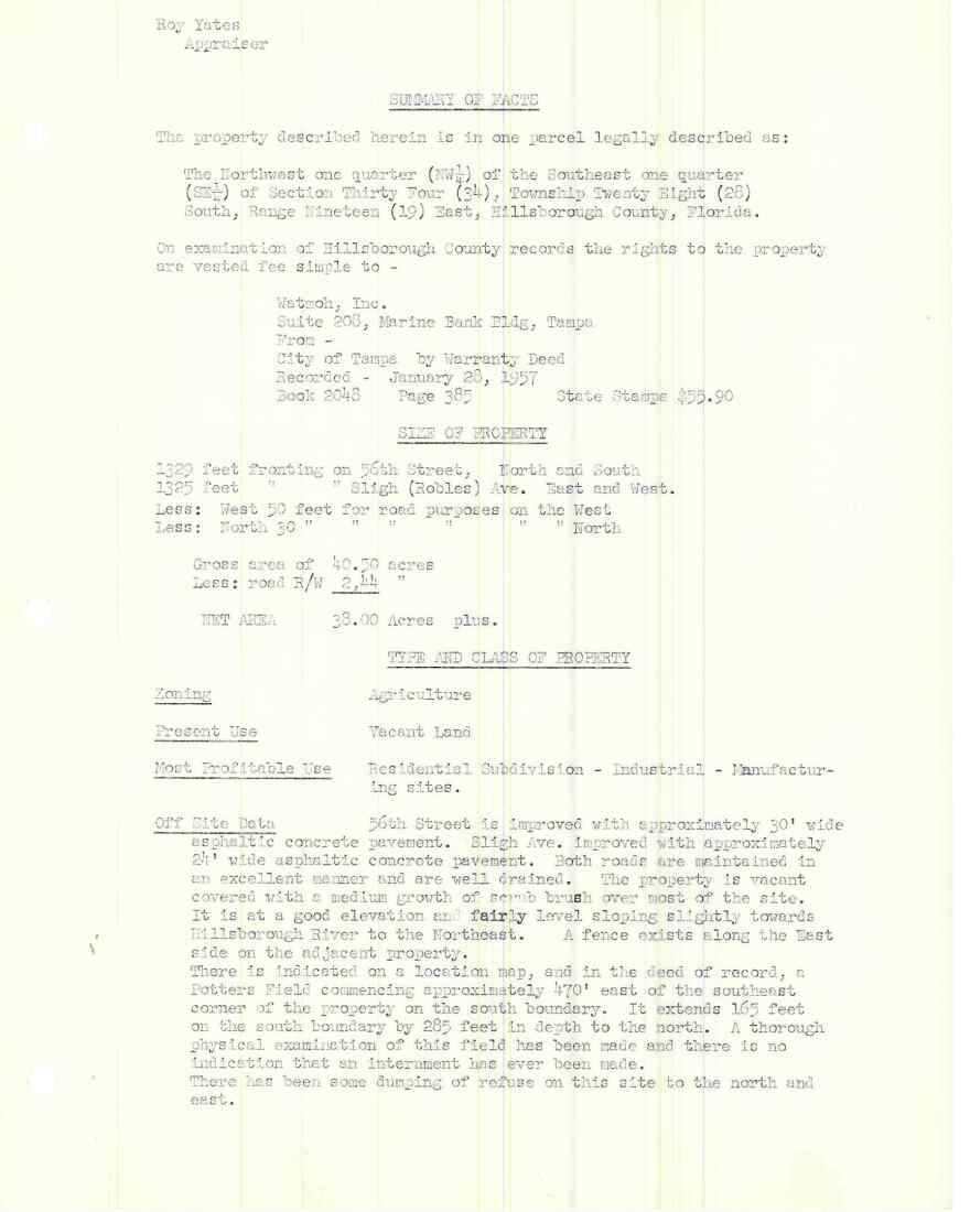 Page 3 of a 1959 appraisal of the property King H.S. is now built on talks about the location of a potters field outside of what is now school grounds.